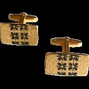 Vintage Gold Tone Cuff Links with Black Art Nouveau Design in Center