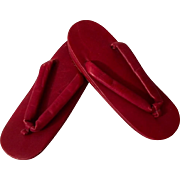 Japanese Leather Zori (Zouri) Sandals, dark red, circa 1950's
