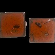 Mid Century Modern Abstract Retro Cufflinks Orange Enamel over Copper