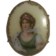 Victorian Portrait Fine China Tole Painted Gold Filled Brooch