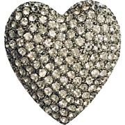 Cadoro Pave  Rhinestone Vintage  Heart Brooch Signed