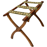 Vintage Hand Crafted Folding Butler/Luggage Rack, 1960's w/Tapestry Ribbon - Red Tag Sale Item