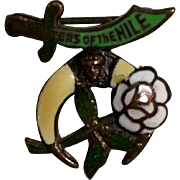 Daughters of The Nile Enamel Over Copper Petite Pin/Brooch Masons, Shriners