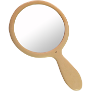 French Ivory Celluloid Vanity Hand Mirror