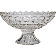 Federal Colonial Yorktown Clear Thumbprint Footed Pedestal Compote Bowl Scalloped Edge