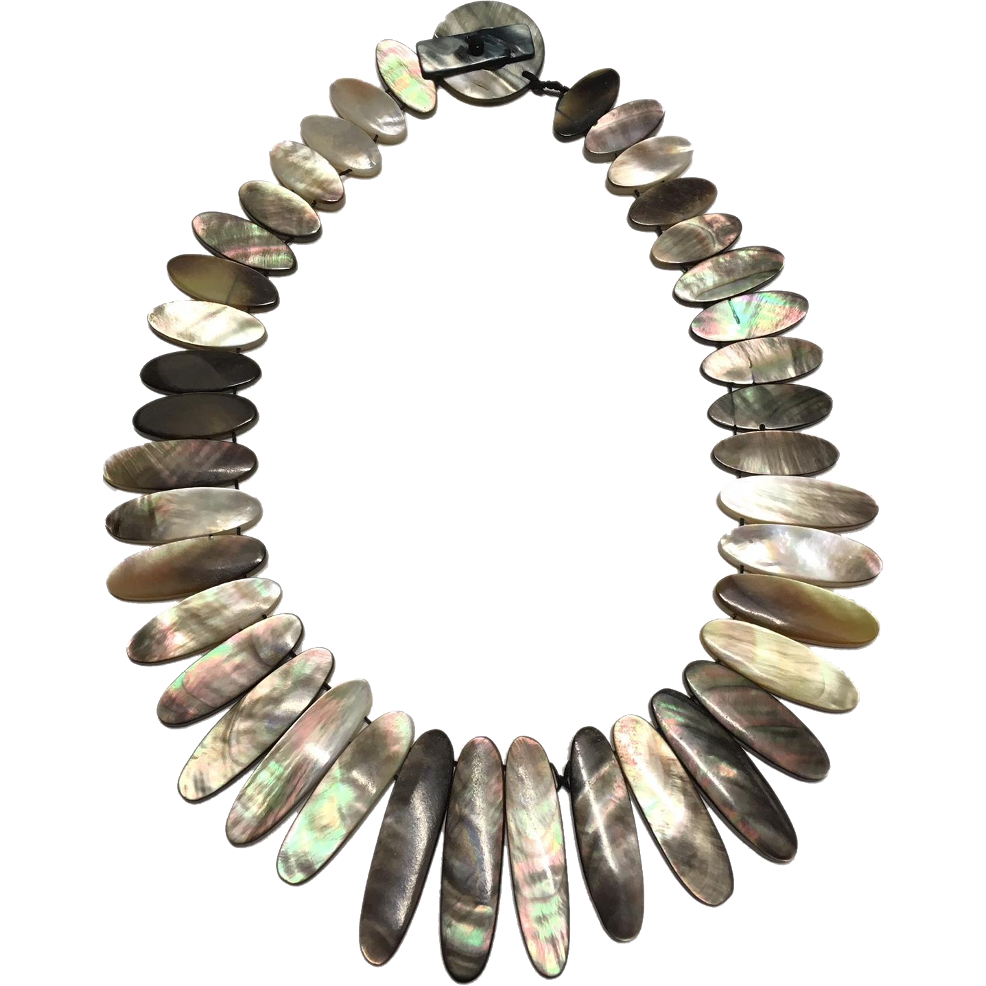 Vintage Oval Flat Disc Abalone/Mother of Pearl Collar/Necklace