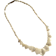 Graduated Hearts Genuine Mother of Pearl Vintage Necklace