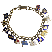 Vintage Enamel U.S. State Flag Charm Bracelet