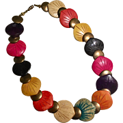 Carved Multi-Colored Dyed Wood and Metal Bead Necklace