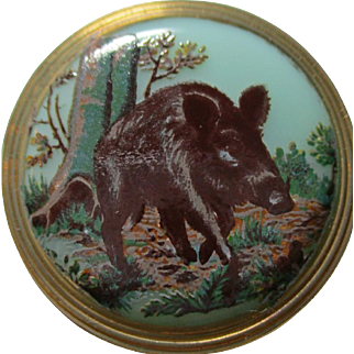 "Pretty Pastel Green Glass~ ""Wild Boar Pig"" Czech transfer picture button w/bent loop~ sporting hunting"