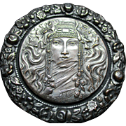 "1940's Large Vintage French Metal Picture Button ""Princess Girl w/elaborate headdress"" 2 1/8"" wide"