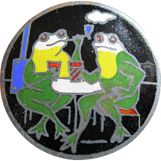 "1940's French Vintage Metal Button From France ""Enamel Frogs drinking & smoking"" Very Collectible!!"