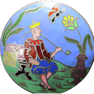"1940's French Vintage Metal Button From France ""Oriental Man smoking & watching butterfly"" Very Collectible!!"