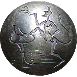 "1940's French Vintage Metal Button From France ""The Devil smoking & drinking"" Incised ~Very Collectible!!"