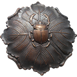 "Gorgeous!! 1940's French Copper Button~Large-""Beetle Bug on Realistic Leaf"" Vintage Metal"