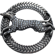 """2 1/2"""" wide~1940's French Metal Button """"Greyhound dog adorned w/rhinestones"""" braided rim~Vintage Picture Escutcheon - Red Tag Sale Item"""
