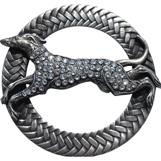 "2 1/2"" wide~1940's French Metal Button ""Greyhound dog adorned w/rhinestones"" braided rim~Vintage Picture Escutcheon"