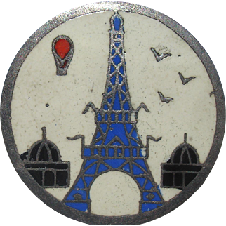 "1940's French Vintage Enamel Metal Picture Button From France ""Eiffel Tower & Hot Air Balloon"" Paris~ 1""~Very Collectible!!"
