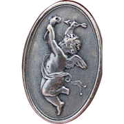 """1940's French Metal Button """"Cupid/Cherub w/ torch & arrow"""" oval vintage picture button"""