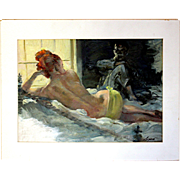 Armando Seguso (1897- 1984): Evening Visitor. c.1950s. Oil on Illustration Board, Preliminary Drawing