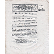 French National Convention Decree 856/734, May 11, 1793, 2nd year of the French Republic