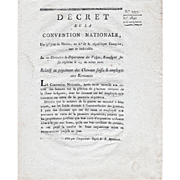 French Revolution Convention Decree 1997, December 1794 (Nivose 3rd, 2nd year of the Republic)