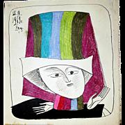 Mikhail Chemiakin: Khorosho. 1969. Ink, Pastel on Paper