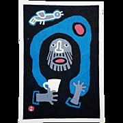 "Azechi Umetaro: ""Repose"", 1963. Japanese Woodblock Print"