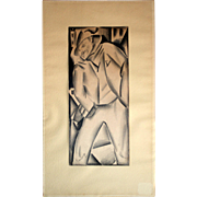 "Irving Resnikoff: Drawing on paper. Matted, c.1930s. 11""X4.75"", matt 15.5""X9""."
