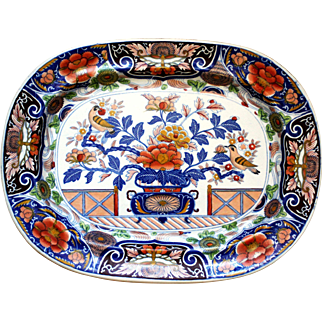 Ironstone Platter Imari: Fence, Vase, Doves & Tree. c.1740-1825, Hicks and Meigh, Staffordshire