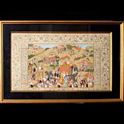 Mughal Painting on 18c. Farsi Manuscript. Color, Ink, Gilt. Framed