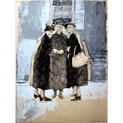 "Passalacqua, David (American, 1936-2004): ""Three Graces"". Mixed media, paper. 22.25"" x 17.25"""