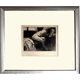 Paul Simon (French, 1892-1979): Reclining Nude, c.1930s. Engraving, Signed in pencil. Edition 6 of 30