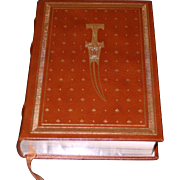 Leon Uris: The Haj. Author Signed True 1st Edition, 1984 Franklin Library, Leather & Gilt