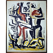 Ossip Zadkine: Les Rois Mages. Signed Color Lithograph on Velin d'Arches. 1953
