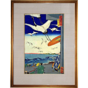 Tsukioka Yoshitoshi: Yuigahama, 1863 Ukio-e Woodblock Print