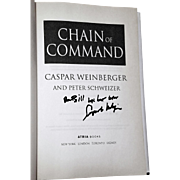 Caspar Weinberger: Chain of Command. Novel. 2005 Signed 1st Edition