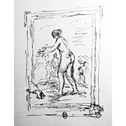 Pierre-Auguste Renoir: Femme Au Cep De Vigne. Lithograph. Mourlot, 1951. Signed in the Plate, Lower Left