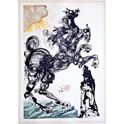 Salvador Dali: Dante Inferno, Canto 6, Cerberus. 1957-1965 Woodblock on Rives Paper