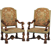 Pair of English Carved Carolean Style Armchairs