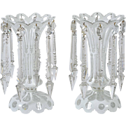 Pair of 19th C. White Overlay Glass Lustres