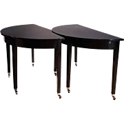 Pair of Early 19th C. Ebonized Mahogany Demi Lune Console Tables