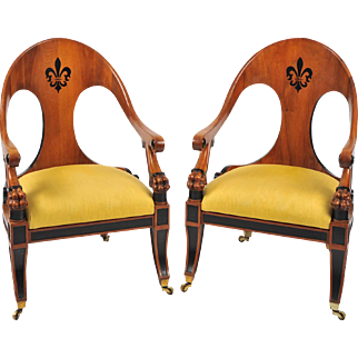 Pair of Early 20th C. English Walnut Armchairs