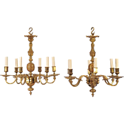 Pair of Early 20th C. Ormolu Chandeliers