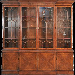 4 Door Walnut Breakfront Display Cabinet