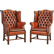 Pair of Mid-20th C. Button Back Leather Wing Chairs
