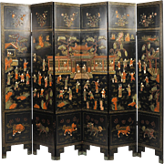 19th c. Black Lacquer Chinese Folding Screen