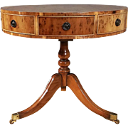 Mid 20th c. Regency Style Yew Wood Drum Table