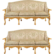 Pair of 19th C. Gilded English Sofas