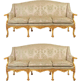 Pair of 19th C. Gilded English Sofas